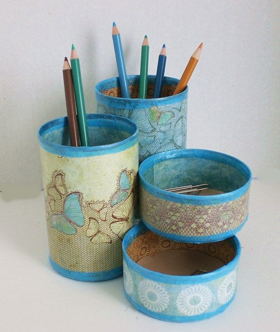 Recycled Can Desk Organizer / Pencil Holder by GroovyCool on Etsy, $22.00
