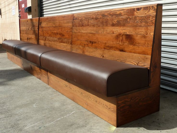 Fantastic Banquette Bench Style And Designs For Modern Interior Decors:  Traditional Teak Unstained Banquette Bench With Brown Leather Seat For  Decorate ...