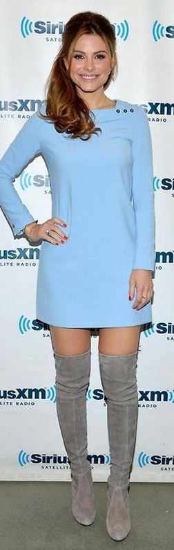 Who made Maria Menounos' blue long sleeve dress and suede thigh high boots?