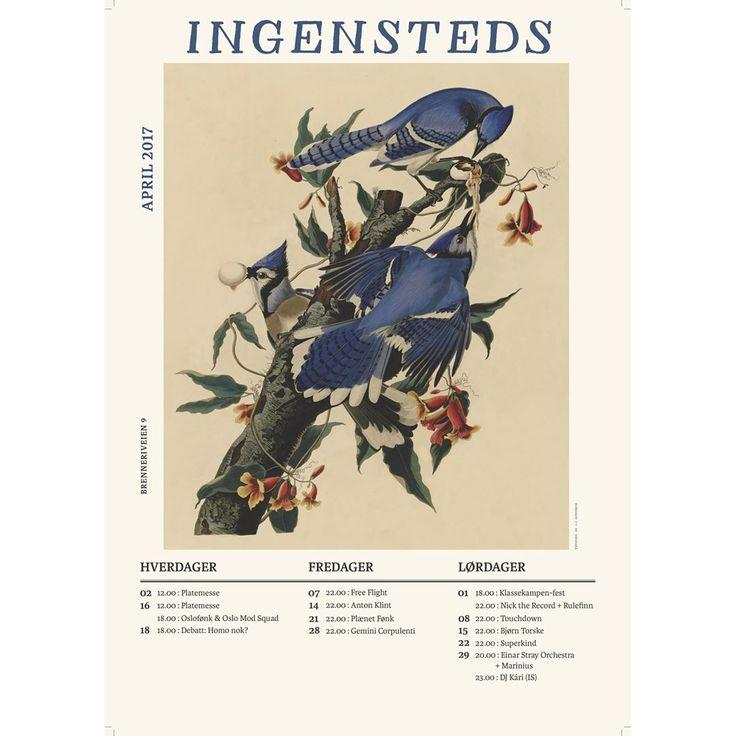 Program for April 2017  Ingensteds, Oslo.   Concert, birds, art, posters.