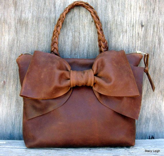 Leather Bow Petite Satchel Handbag in Distressed Brown by Stacy Leigh Made to Order
