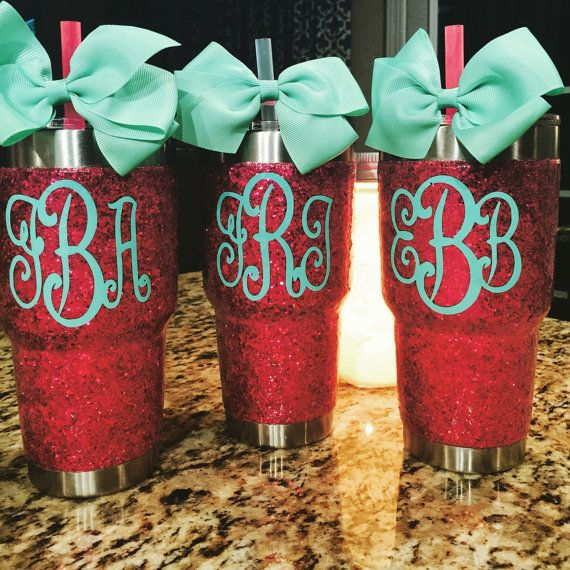 Glitter Yeti Rambler in Hot Pink  with Lid & Bow by GlitterYeti