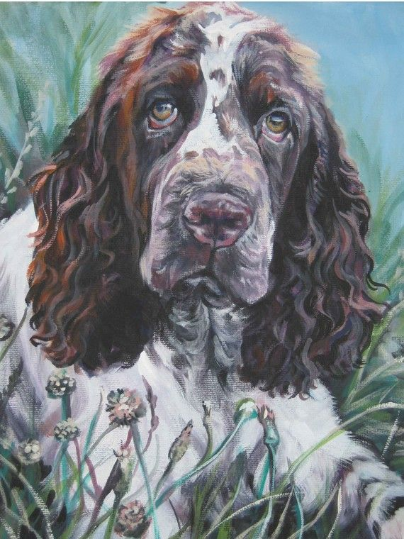 English Springer Spaniel art print CANVAS print of LA Shepard painting 12x16