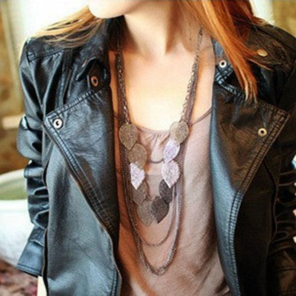 Bohemian Multilayer Hollow Out Leaves Long Chain Necklace For Women
