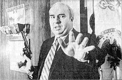 "R. Budd Dwyer. Claimed he was innocent and had been framed for the charge of ""bribe receiving.""  On January 22, 1987, Dwyer held a press conference where he said his last words, handed out 3 envelopes, said ""Please leave the room if this will offend you."" and shot himself...all on live T.V! Due to the fact he died in office his family got to collect full survivor benefits in excess of $1 million, had Dwyer gone to jail they would have lost everything."