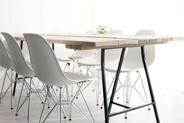 scandinavische tafel, moderne tafel, steigerhouten tafel, tafel met schragen, IKEA, eetkamer inspiratie, nordic