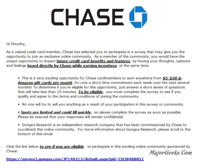 Chase Bank phishing scheme promises Amazon gift cards for completing a survey - MajorGeeks