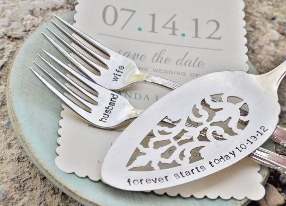 Husband & Wife Vintage Wedding Cake Forks (Matching Set)