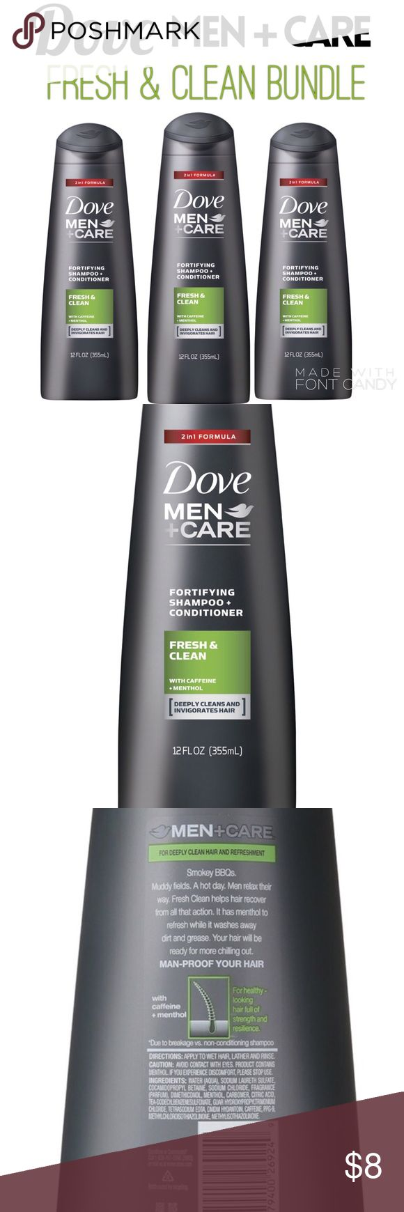 🆕 3 Dove Men+Care 2in1 Fresh & Clean Hair Bundle Dove Men + Care Fortifying 2-in-1 Shampoo + Conditioners make hair stronger and more resilient so that men can pursue their active lifestyles. Cleans and invigorates hair with a refreshing effect, and is infused with caffeine + menthol. It helps strengthen hair, leaving it visibly healthy, thicker and resilient, with a 2-in-1 formula that functions as a shampoo and conditioner so that it cleanses and conditions hair simultaneously.  Paid…