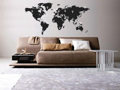 World Map Complete With Pointers Wall Sticker from Wallboss | Made By Wallboss | £34.99 | BOUF