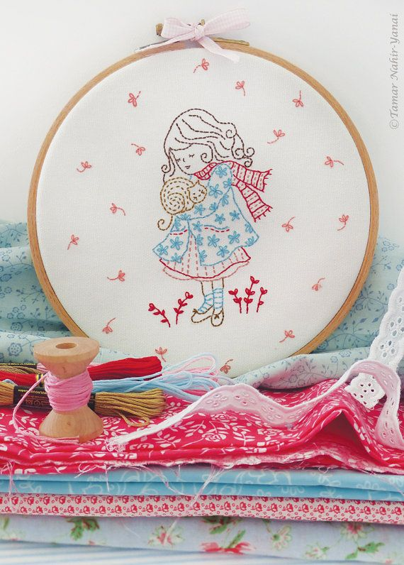 Christmas embroidery, Christmas wall art, Embroidery kit - Winter girl hugs her cat - Winter embroidery designs, Diy kit, Hand embroidery