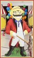 The Carnival Barker Standee has the look of a traditional barker with his red jacket, straw hat and handle bar mustache. Each of the barker standess is free standing and made of sturdy cardboard. The Carnival Barker Standee measures over 5 feet high x 3 feet wide and perfect for any carnival or circus themed party.. Carnival Barker Standee fun circus bedroom wall decorations