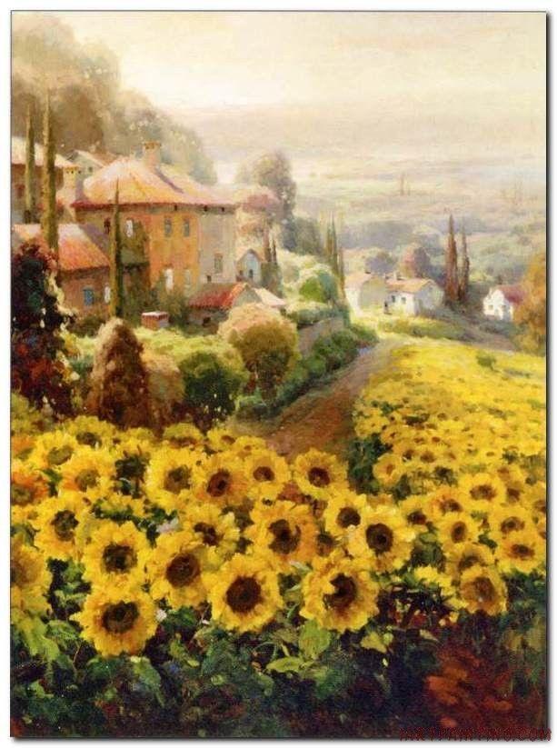 Flower Field Landscape Oil Painting Italian Tuscany