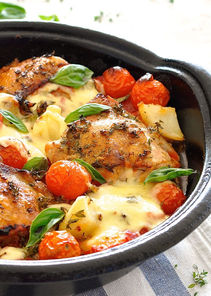 Italian Baked Chicken with Potatoes and Cherry Tomatoes. All made in same skillet. Easy peasy and yummy.