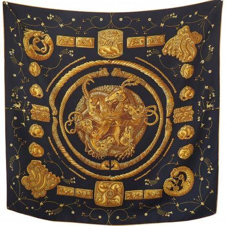 cfb0e2b880f Carré 90 silk silk handkerchief HERMÈS Black