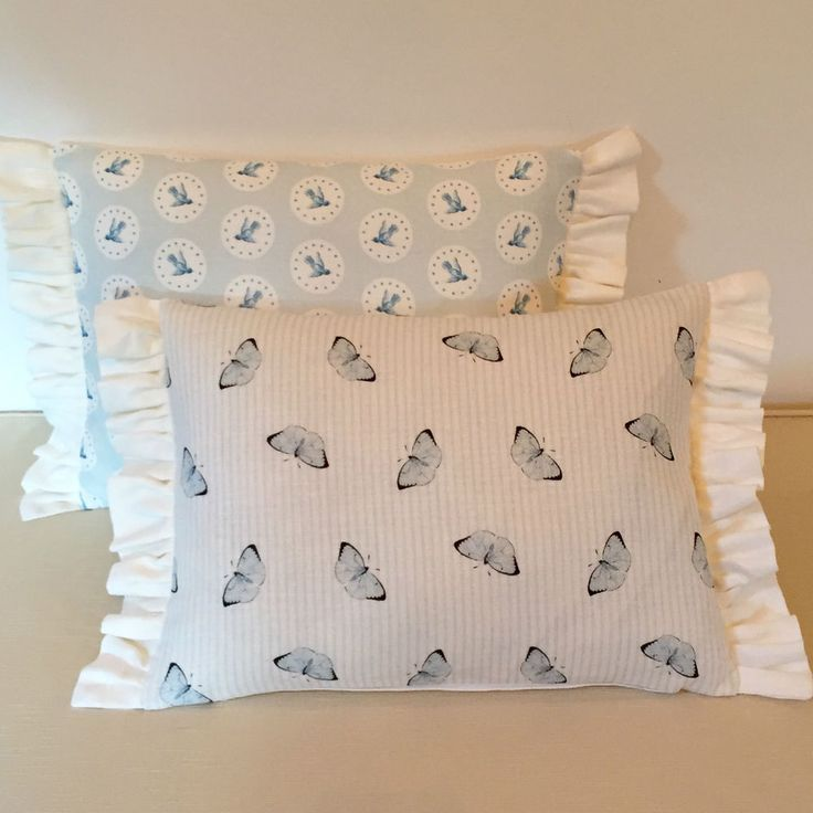 NEW Peony & Sage Butterfly Flying High Birds Frilled Linen Fabric Cushion Cover