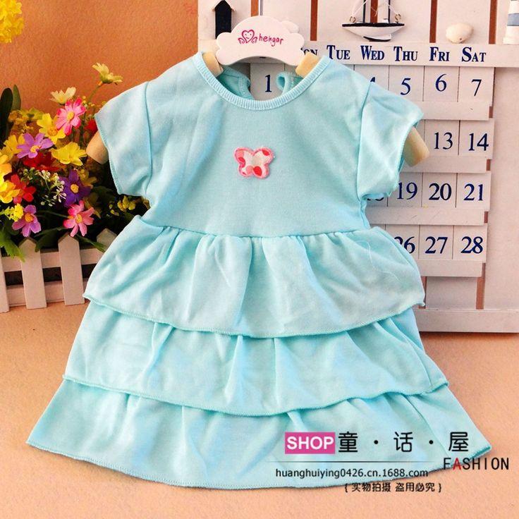 Розничные 2015 летние детские платье принцессы новорожденных девочек детские одежды, Дети торт платье плиссированные кукла одежды дети 0 - 2 т