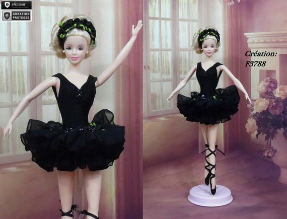 "Robe Barbie Danseuse "" Tutu N°6 "" tenue Ballerine pour poupée Barbie f3788"