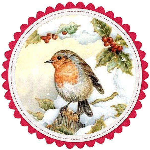 Декупаж открытки новый год