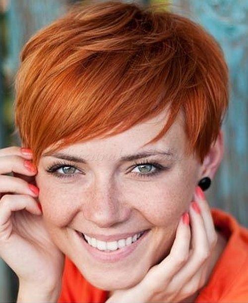 pixie frizurák, rövid frizurák 2015 - rövid női frizura vörös hajból