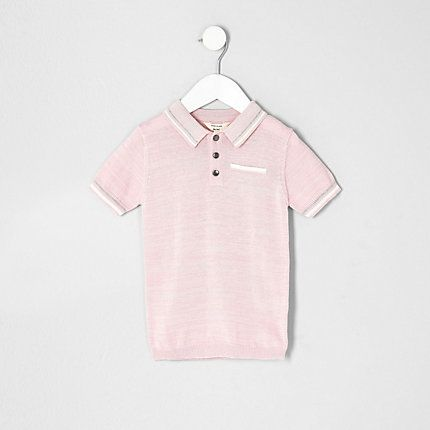Mini boys pink tipped smart polo shirt