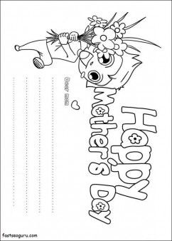 Printable Boy Holding Flower For Mom Happy Mothers Day Coloring Page