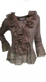 Women's Vintage Ruffle Sweater Bolero Top In Ecru at Styles2you.com. Available in more colors 46.00 USD