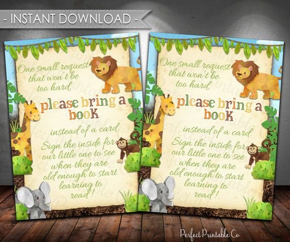 Safari Jungle Baby Shower Book Instead of by PerfectPrintableCo