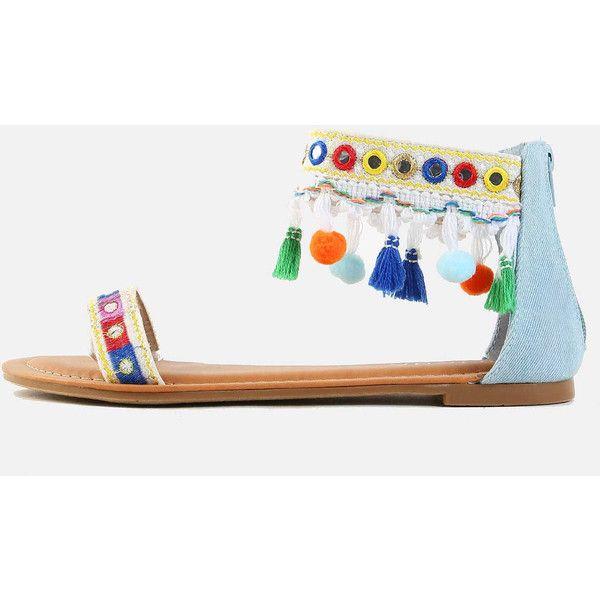SheIn(sheinside) Denim Ankle Strap Pom Pom Sandals DENIM (€28) ❤ liked on Polyvore featuring shoes, sandals, blue, ankle wrap sandals, denim sandals, blue shoes, blue denim sandals and pom pom sandals