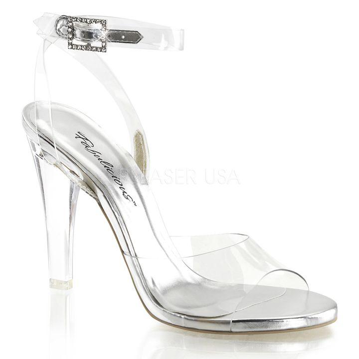 CLEARLY-406-C - Прозрачные босоножки с силиконовым ремешком вокруг щиколотки и силиконовой союзкой, со стразами на пряжке, на прозрачном каблуке, для фитнес-бикини купить, Украина