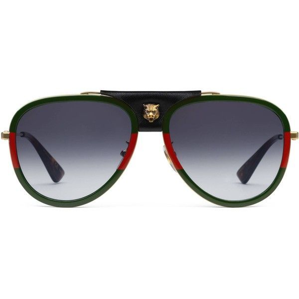 a9c0084bd5f Gucci Aviator Metal Sunglasses With Leather ( 545) ❤ liked on Polyvore  featuring men s fashion