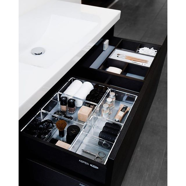 """@haefeledesign's photo: """"#TuesdayTip: Make the most of your #bathroom drawers by using spacers or drawer organizers to keep your makeup and other beauty products neat."""""""