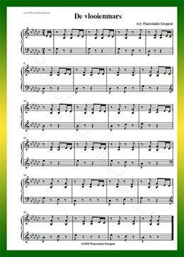De vlooienmars - Gratis bladmuziek van kinderliedjes in eenvoudige zetting voor piano. Piano leren spelen met bekende liedjes.