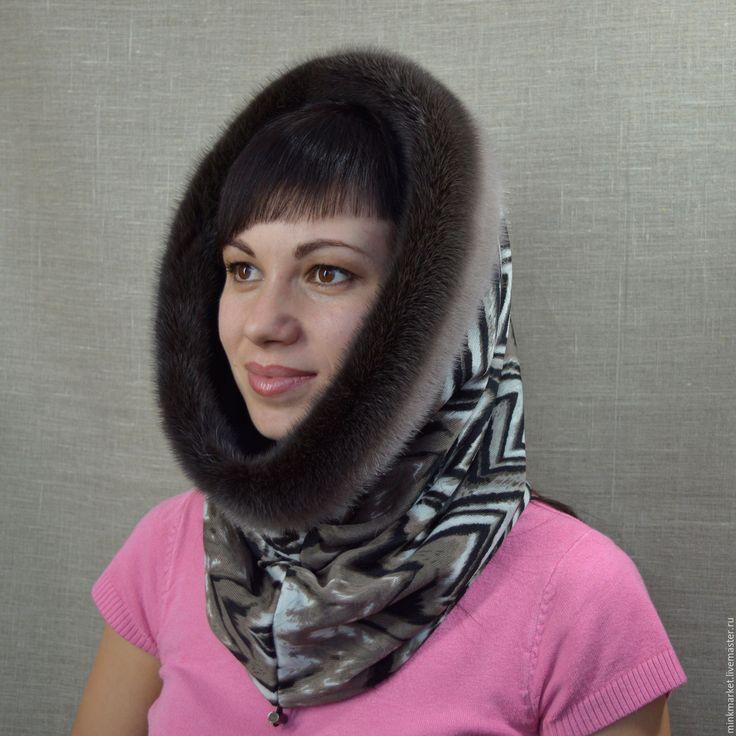 Купить Шарф-труба Зигзаги с мехом норки - комбинированный, головной убор, головные уборы для женщин