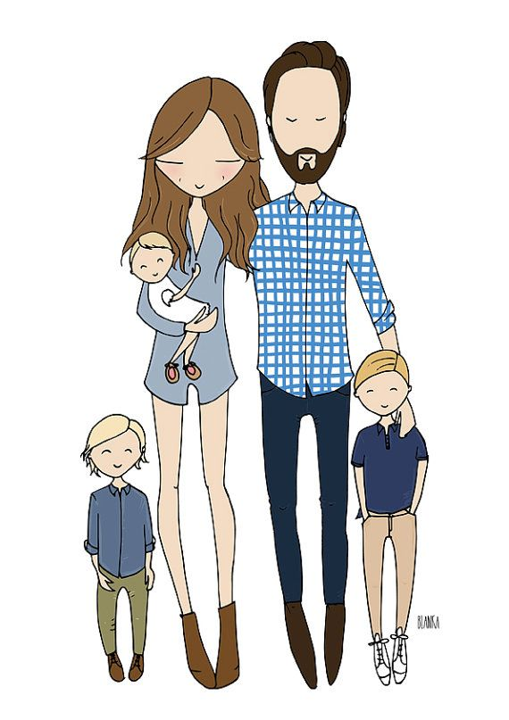 This listing is for a bespoke family illustration. You receive an A4 quality print, a perfect gift for a loved one. The portrait is hand