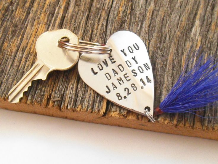I love you daddy keychain for dad metal key ring for for Fishing gifts for dad