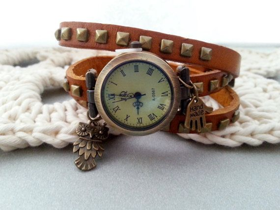 "Leather strap long wrap watch with brads, ""hand made"" and owl charms. Length 60cm(22,5in), watch face diameter 2,7cm(1,1in). Free gift packages. Great valentines day gift idea."