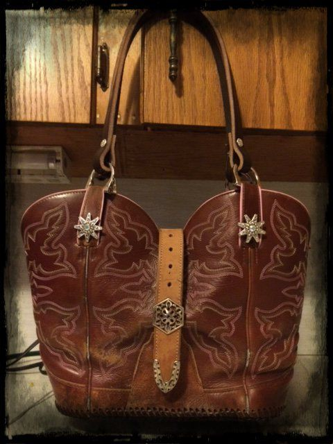 The second Cowboy Boot Purse I have made. This one was a pair of boots my niece gave me to make her a purse from.