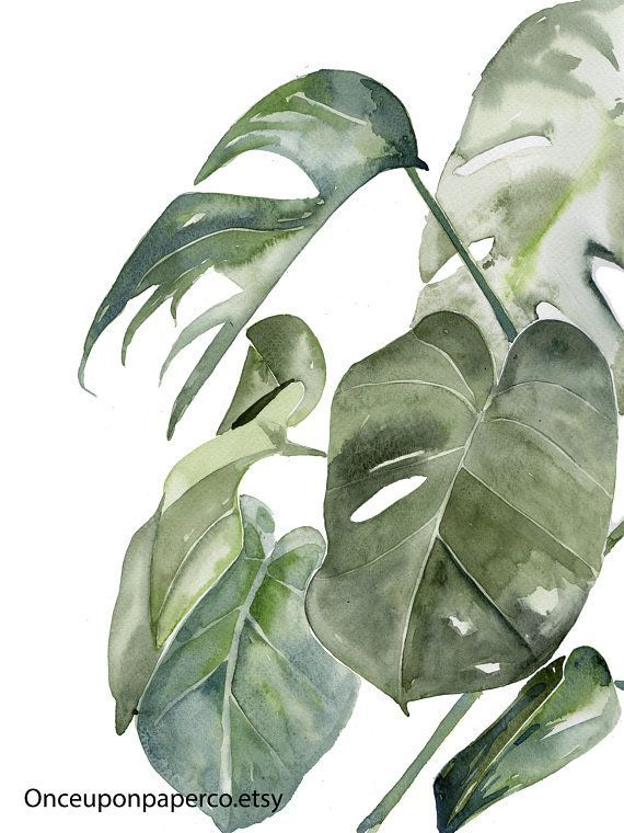 Botanical Watercolor Leaf Print Tropical Plant Art Work