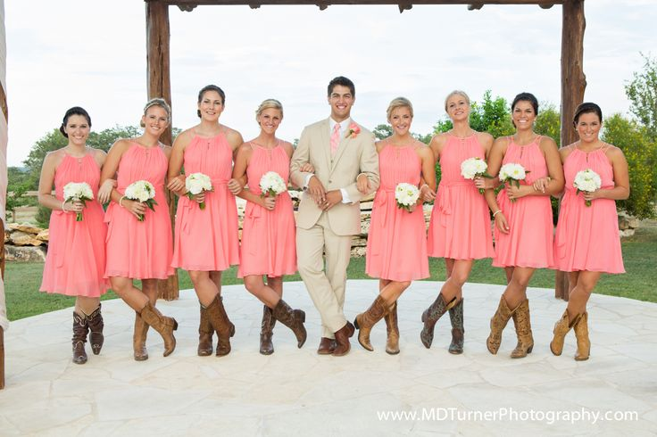 Coral short bridesmaid dresses with cute cowboy boots - Houston wedding photography - MD Turner Photography
