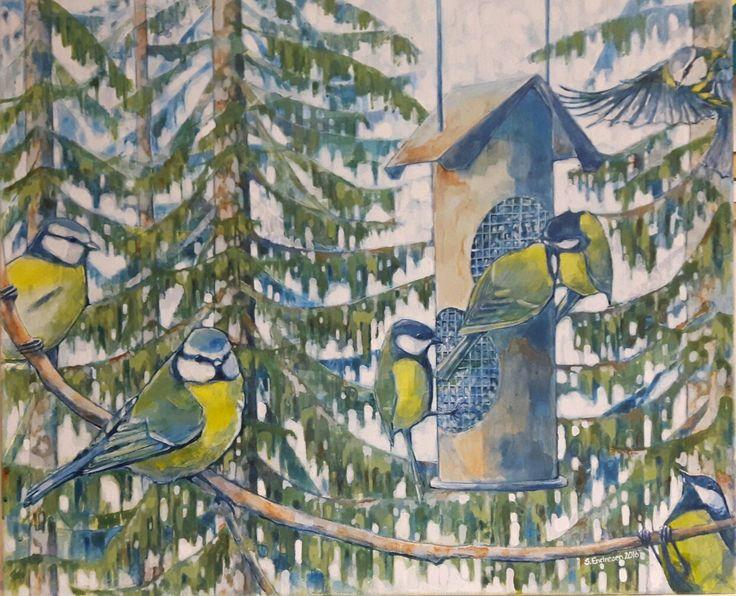 Meiseliv - Sissel Endresen Fugler - natur - akrylmaleri - kunst - art - painting - acrylicpainting