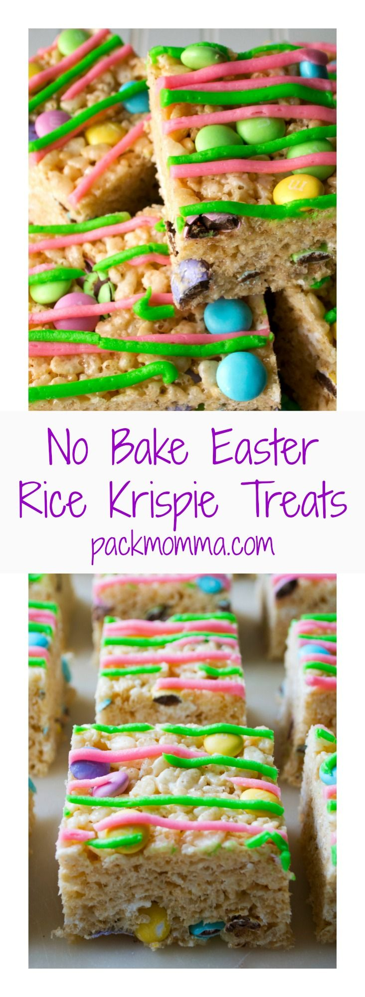 No-Bake Easter Rice Krispie Treats are the perfect no bake dessert to celebrate Springtime and Easter. #easter #ricekrispietreats #easterricekrispietreats #easterricecrispytreats #nobakedessert #nobaketreats via @awickedwhisk