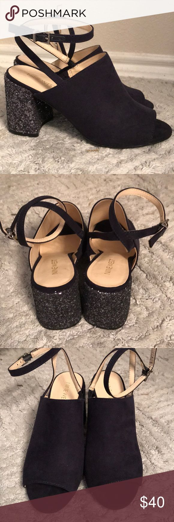 """10% OFF SHOES!! NEW Nine West Ankle Strap Heel Nine West.   Suede peep toe shoe with sparkling block heel. Thin ankle strap with adjustable buckle.  3"""" Heel height. Navy. Size 6 1/2 New!  Soooo cute! Never worn, too small for me! Nine West Shoes Heels"""