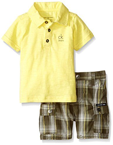Calvin Klein Baby Boys' Jersey Polo Shirt and Plaid Shorts, Yellow, 12 Months