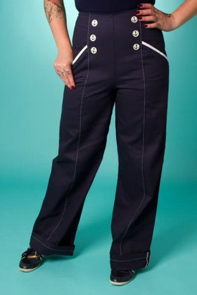 Nautical Nancy Swing Trousers by Miss Fortune