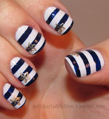 nauticalPolish Art, Nautical Stripes, Nails Art Ideas, Nailart, Nails Design, Nail Art Ideas, Summer Nails Art, Nautical Theme, Nautical Nails