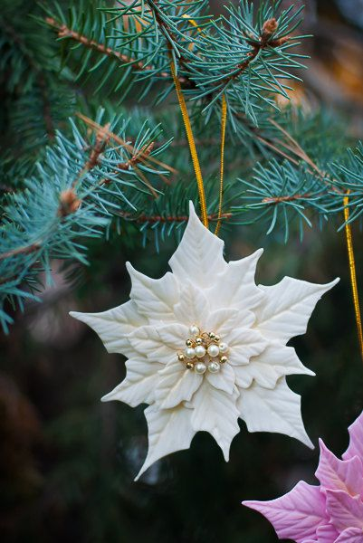 White Poinsettia Christmas Ornament - Clay flower- Maybe can find white poinsettia's at the dollar store