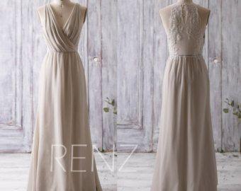 2016 lange Brautjungfer Kleid Pfirsich Prom Kleid von RenzRags