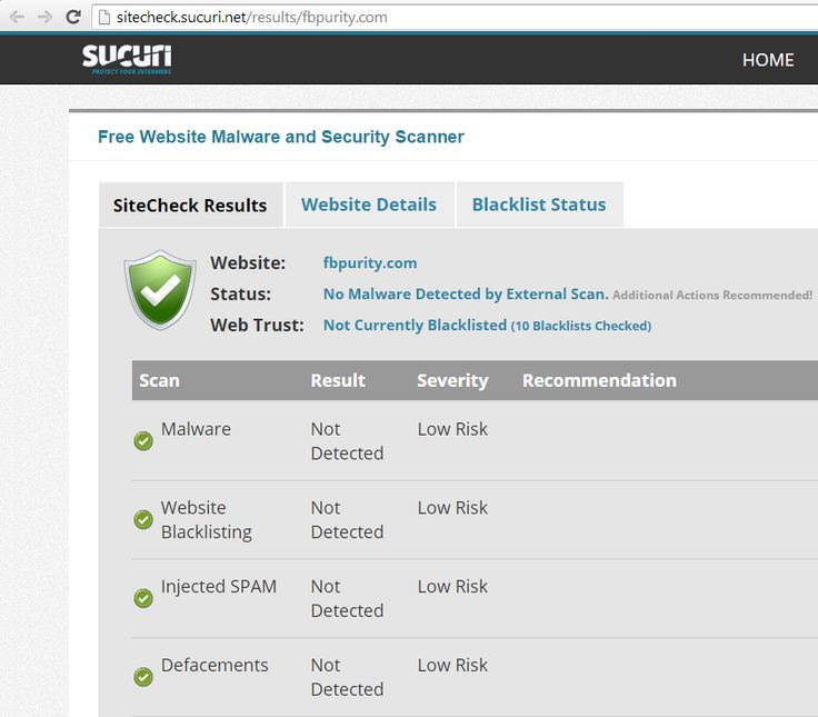 Scan on sitecheck.sucuri.net safety scanner proves that FB Purity is safe! Clean up and Customize Facebook with the safe, free and top rated FB Purity: http://fbpurity.com