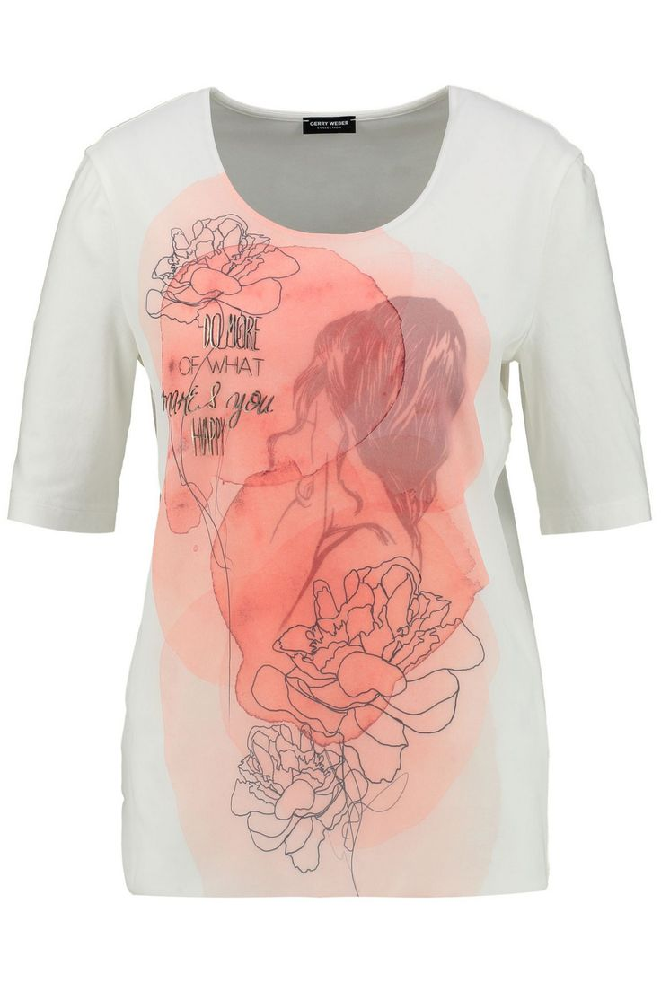 shirt bloemen en tekstprint